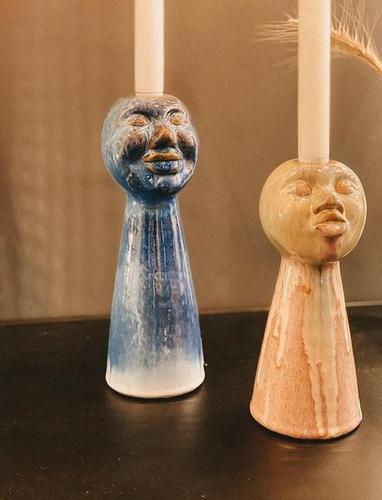 Kerzenhalter - Gesicht blau