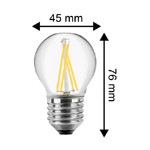LED Filament Leuchtmittel - 4 Watt 470 Lumen Tropfen(ersetzt 40 Watt) warmweiß E27